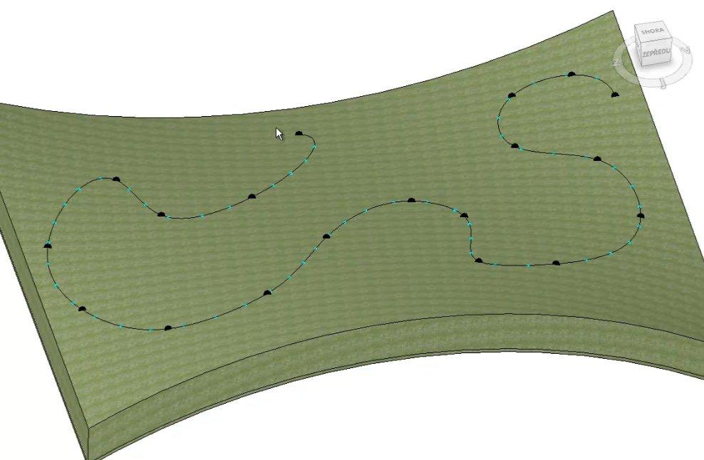 Pokreslení terénu trajektorií plotu