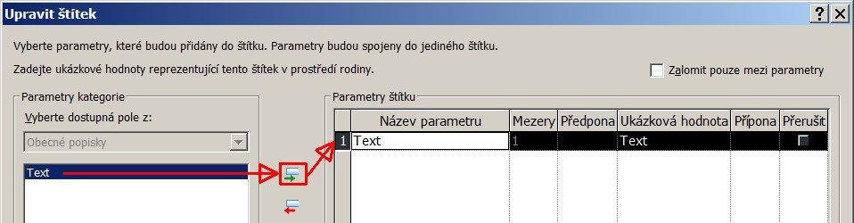 Vložení parametruText do štítku