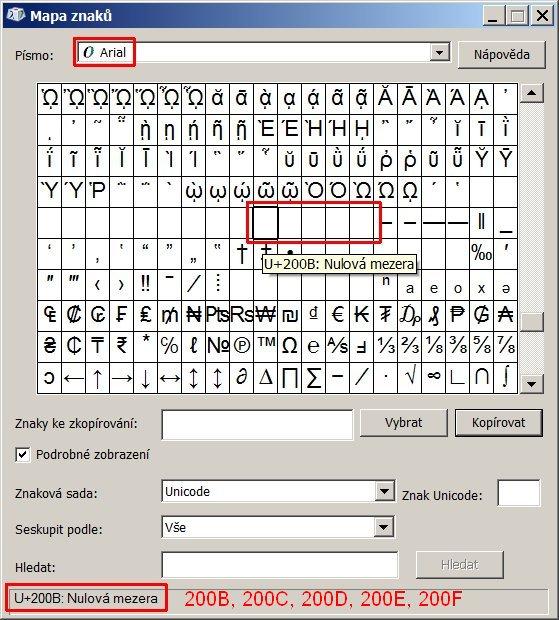 Výběr znaku Nulová mezera z Mapy znaků