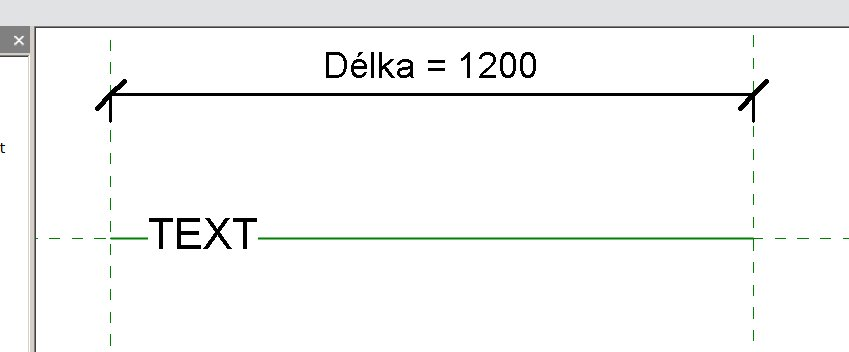 Vložení rodiny s textem u konce čáry