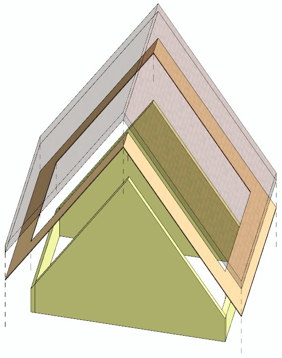 Promítnutí změn úhlů všech rovin střechy na 60°