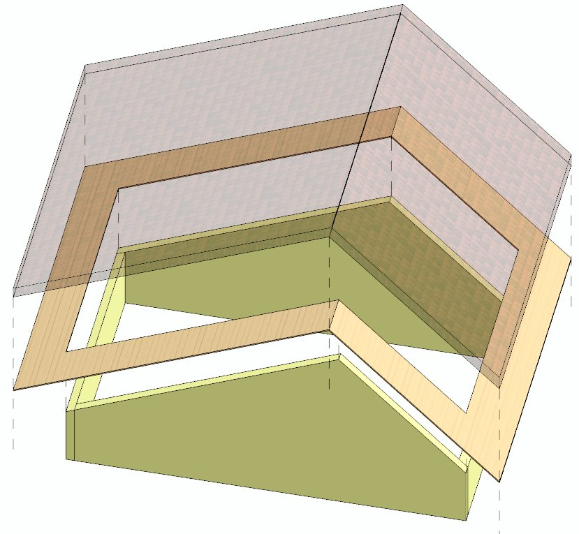 Změna úhlů rovin střechy na 45° a 25°