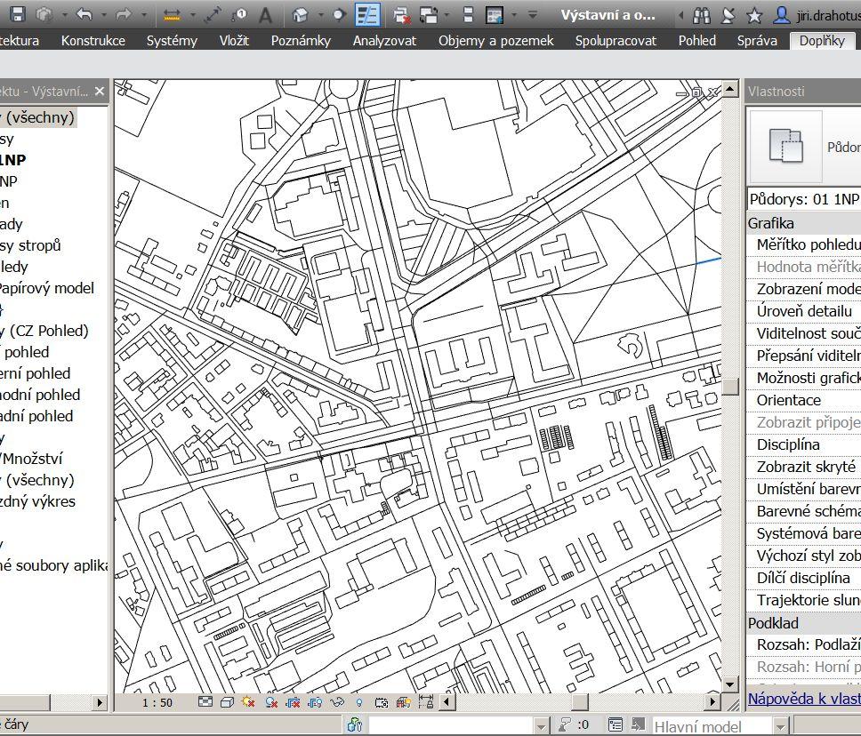 Ukázka modelových čar vytvořených z mapového podkladu