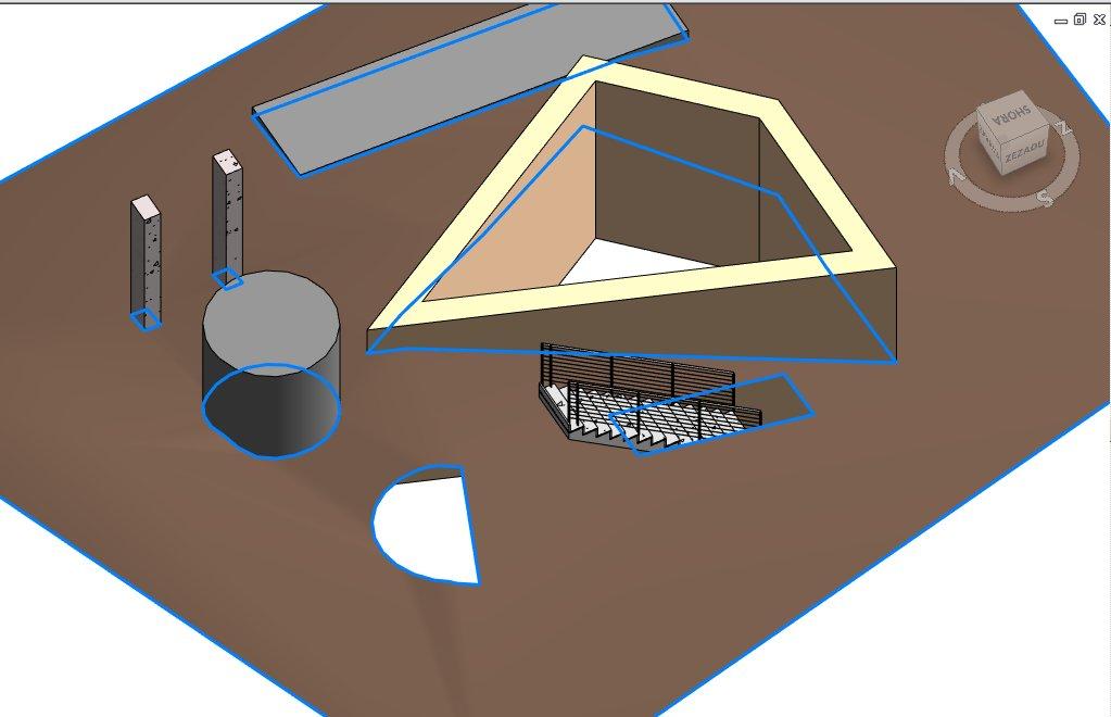 Příklad terénu s objekty a jejich průsečnicemi