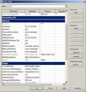 Revit Parametry NBS sekce