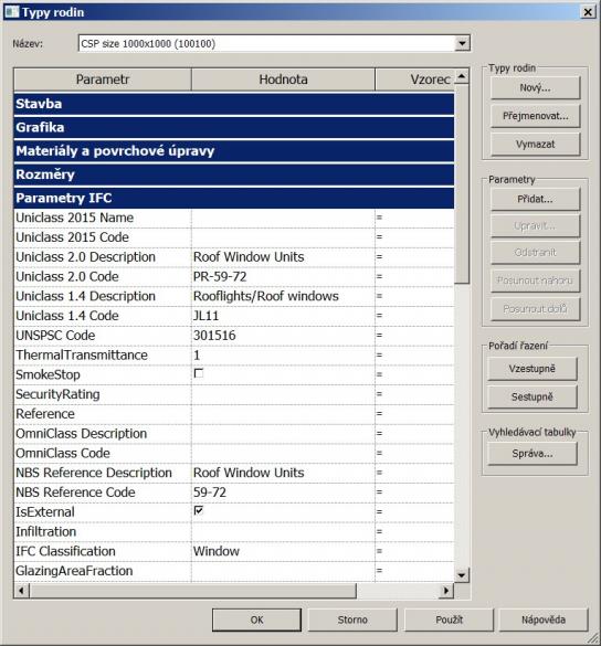 Revit parametry IFC sekce