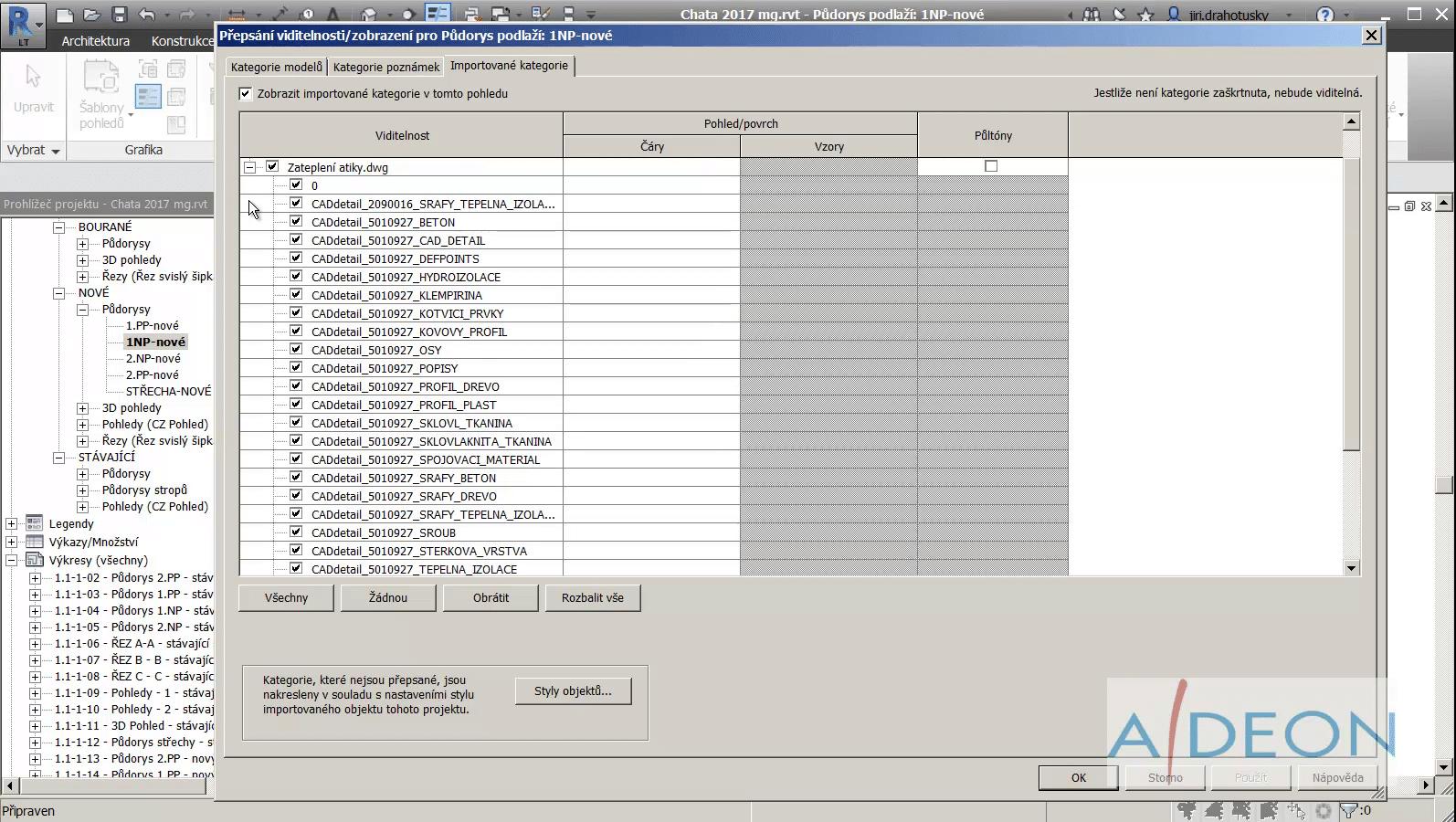 Revit sprava hladin importovaneho DWG
