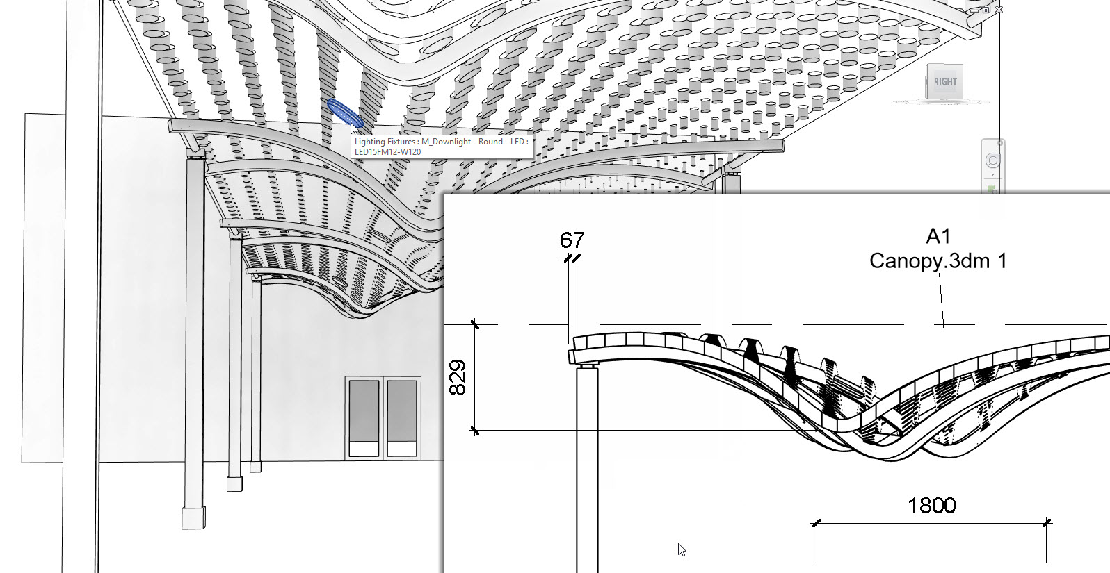 Podložená 3D geometrie spolupracuje s nástroji Revitu