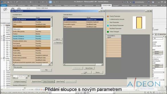 Smart Browser - Přidání sloupce s novým parametrem v Revitu