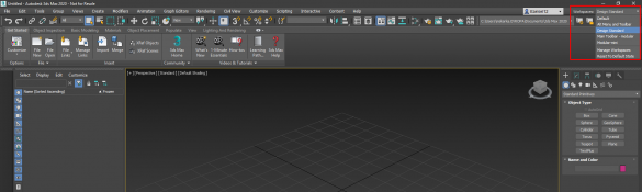 3ds max Design standard workspace