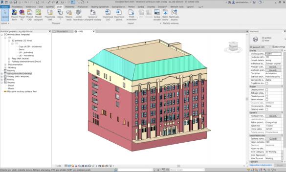 Autodesk Revit vymodelovany 3D model stavby podle skenu mracna bodu