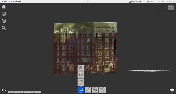 ReCAP ořezové okno mračna bodů