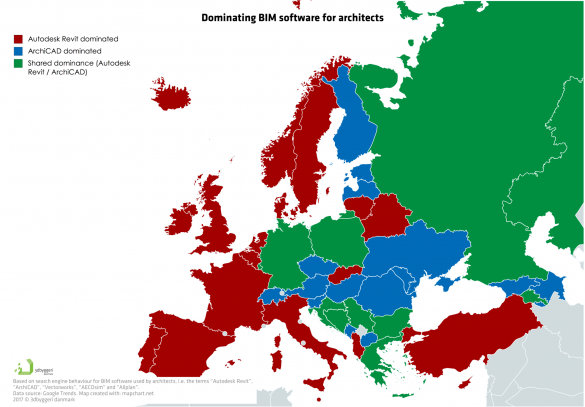 Přijetí softwaru BIM napříč evropskými zeměmi