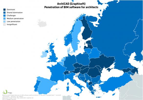 Archicad penetrace v Evropě
