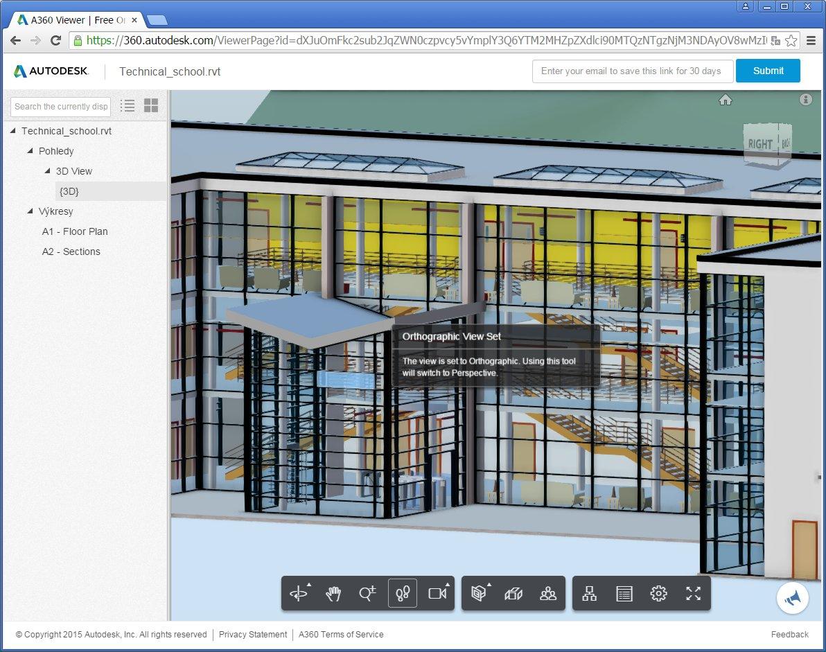 Načtený 3D model z RVT projektu