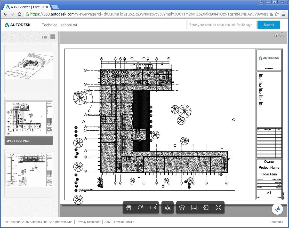 Pokud projekt obsahuje pohledy výkresů, lze je také prohlížet.