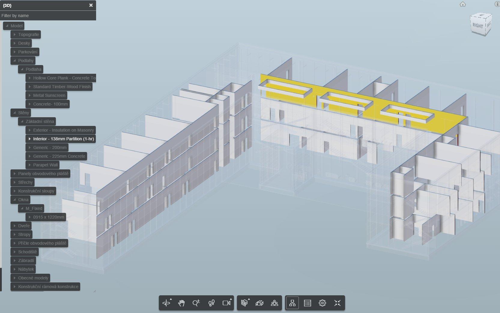Zobrazení prohlížeče modelu. S volbou zobrazení vnitřních stěn