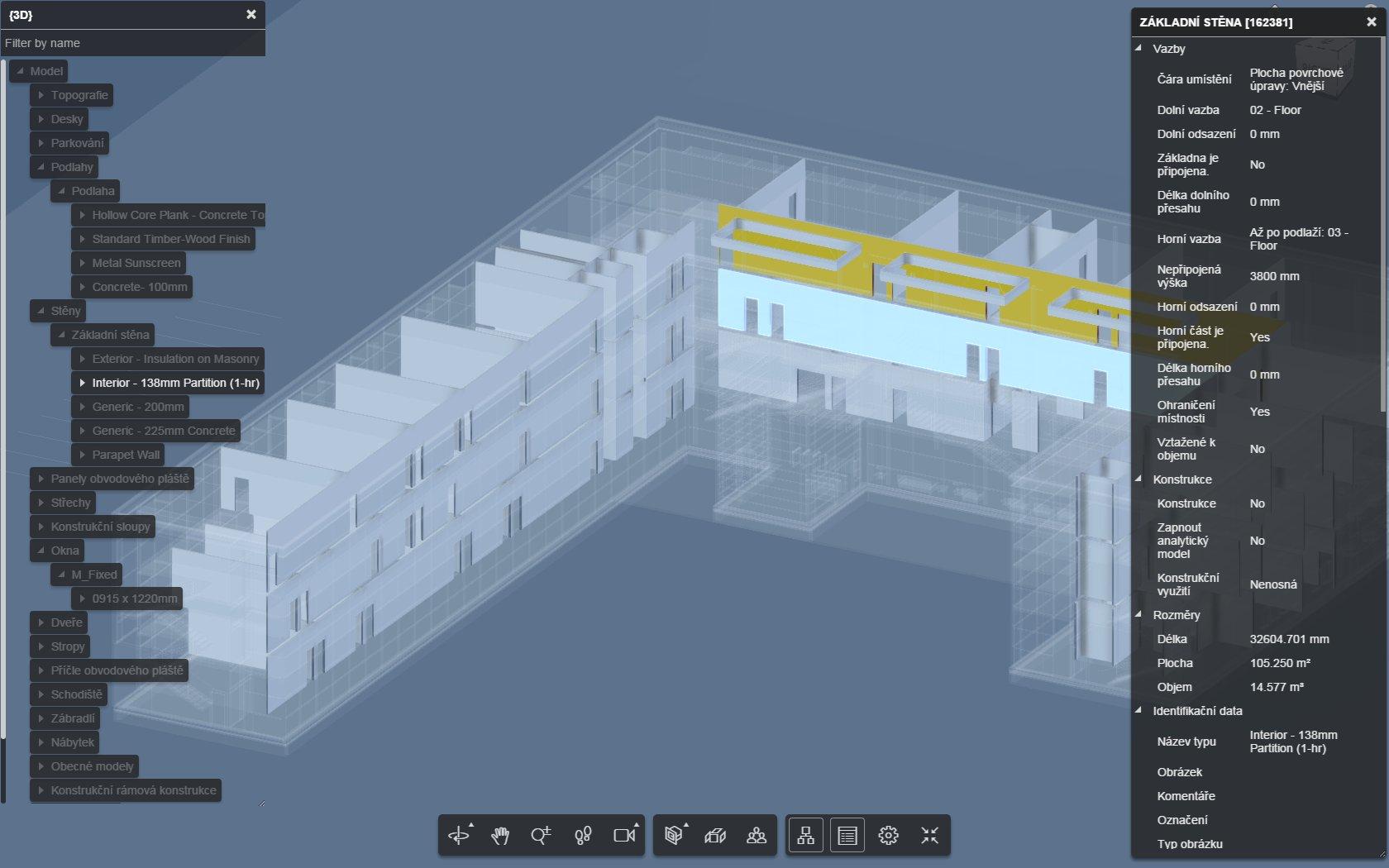 Objekty modelu mohou vydat informace o vlastnostech, zde např. vnitřní stěna.