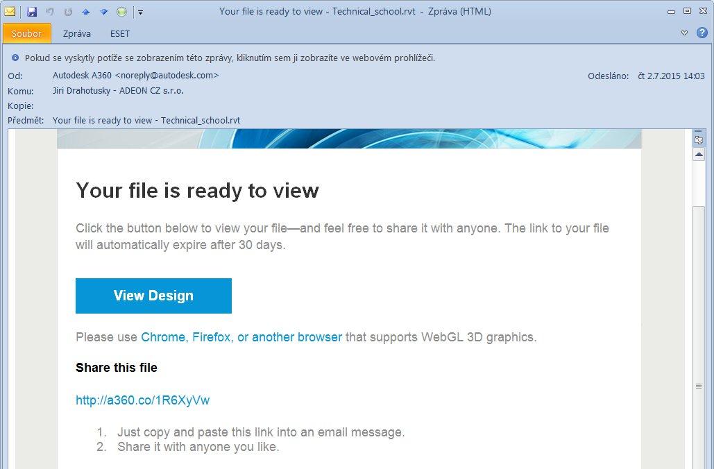 Obdržený e-mail s odkazem, který můžete předat komukoliv, kdo se má účastnit prohlížení.