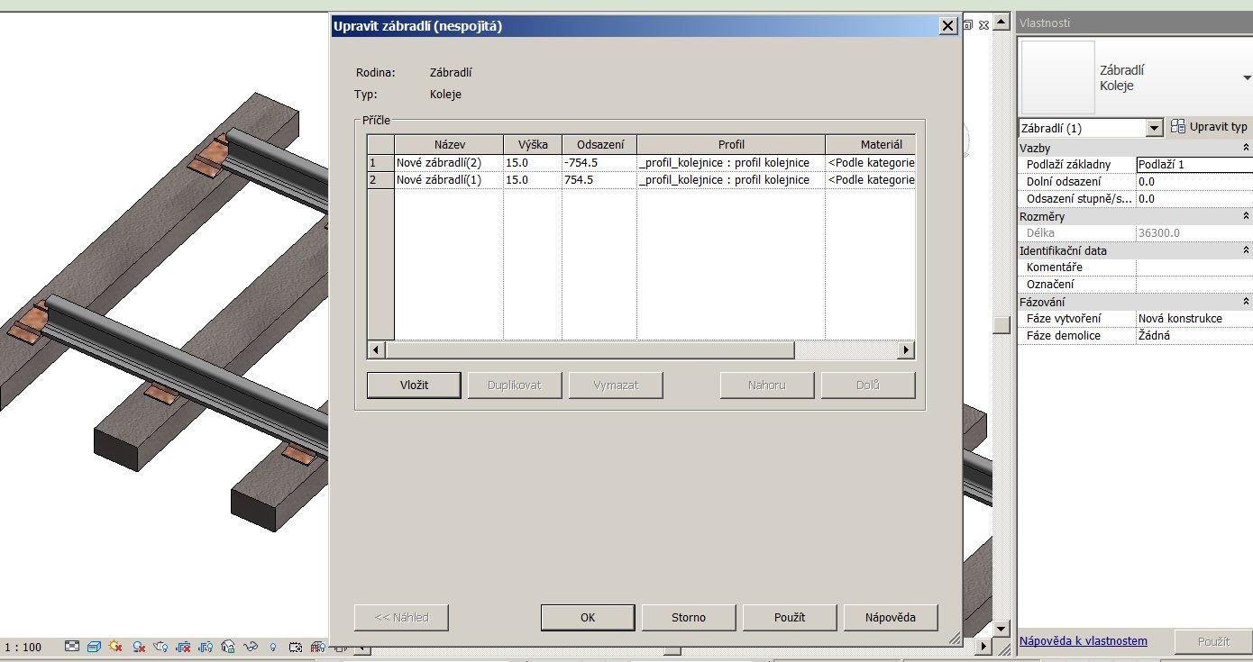 Konstrukce zábradlí (příčle)